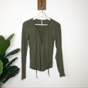 Free People olive criss cross front shirt